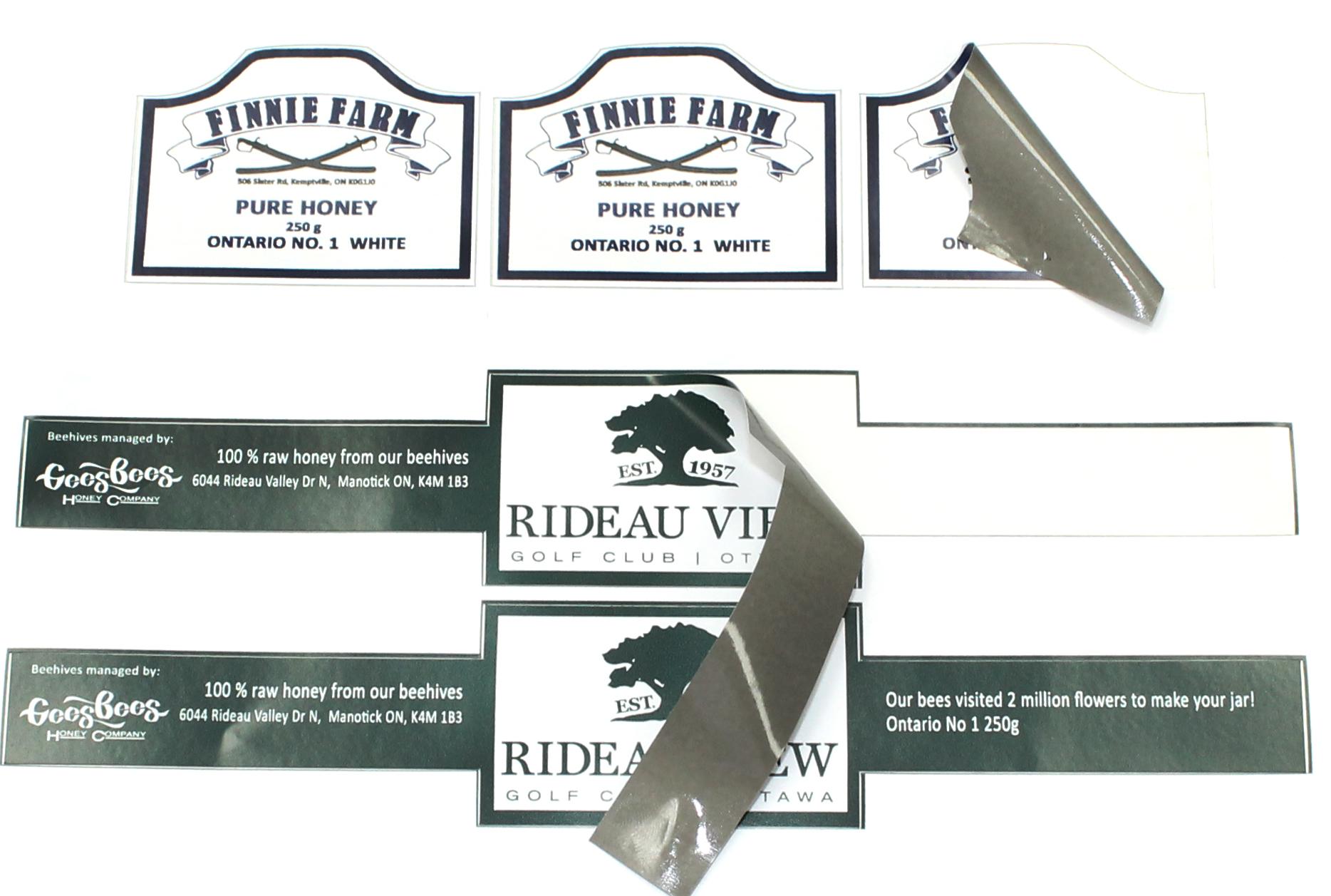 Custom-cut labels, vinyl adhesive, gloss or matt finish paper