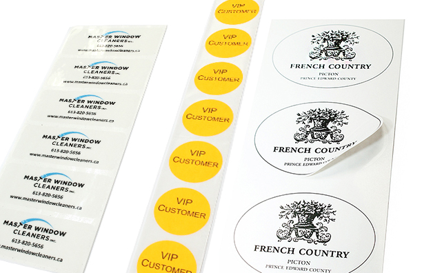 Roll labels, custom-cut roll labels